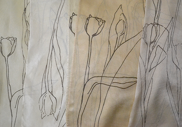 tulip print on silk